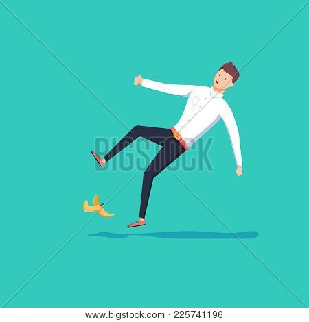 Flat Style Businessman Slipped On A Banana Peel. Business Accident Concept. Fall Hazard Vector Illus