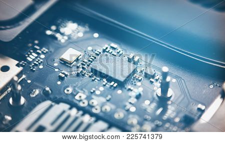 Closeup View To Motherboard Of Modern Laptop With Chips And Othen Components