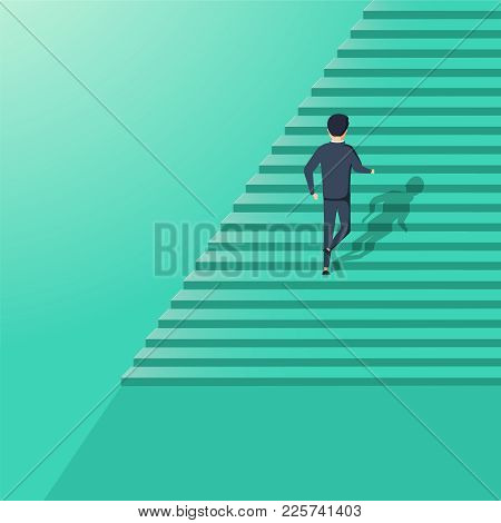 Business Career Development Vector Illustration Concept. Symbol Of Corporate Ladder Climbing, Succes