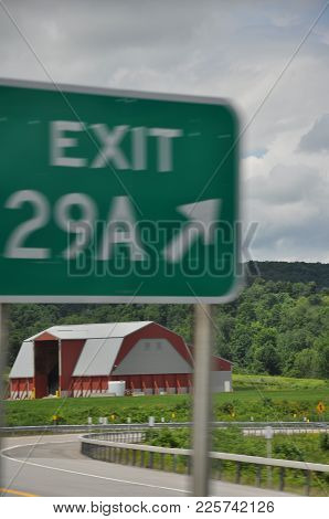 Storage Barn Off A Highway Exit In Upstate New York.