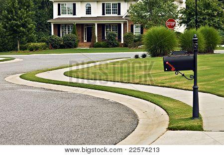Sidewalk And Street In Modern Neighborhood