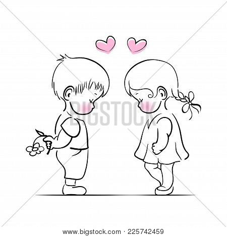 Hand Drawn Little Boy And Girl Romantic Illustration For Valentine Day. Vector Illustration