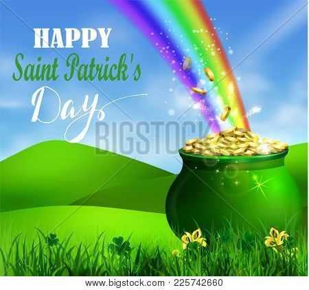 St. Patrick S Day Symbol Pot Full Of Gold Coins And Rainbow Vector Illustration