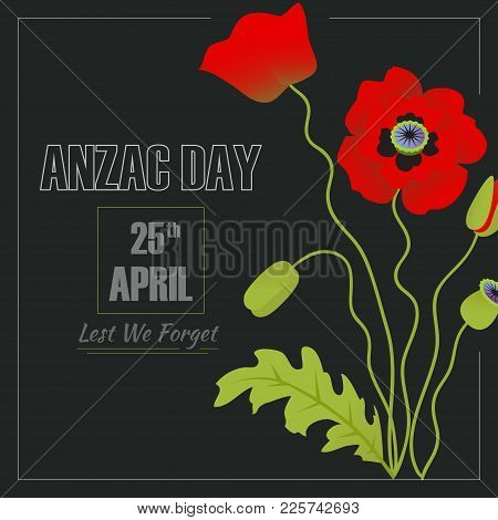 Anzac Remembrance Day Illustration. Vector Card Eps10
