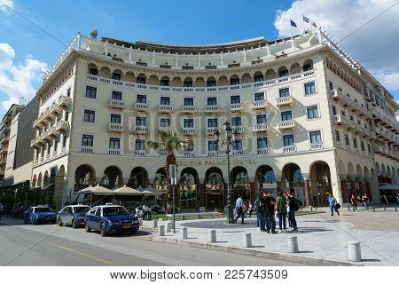 Thessaloniki, Greece - May 29, 2017: Electra Palace Hotel Facade Built In Aristotelous Main City Squ