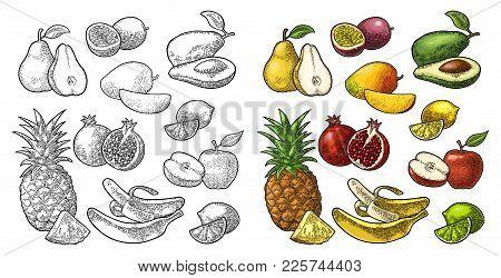 Set Fruits. Isolated On The White Background. Pineapple, Lime, Banana, Pomegranate, Maracuya, Mango,