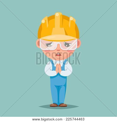 Convince Agree Pray Ask Cute Builder Engeneer Condolences Compassion Mascot Character Cartoon Design