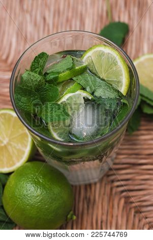 Fresh Mojito Summer Cocktail With Lemons And Limes And Mint Leaves