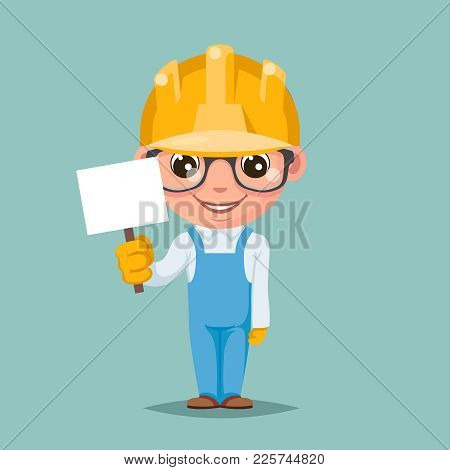 Promotion Advert Stick Cute Builder Engeneer Mascot Happy Support Approval Character Cartoon Design