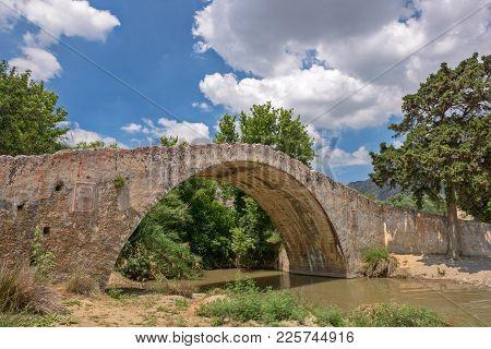 Old Venetian Arch Bridge At Preveli On Crete, Greece