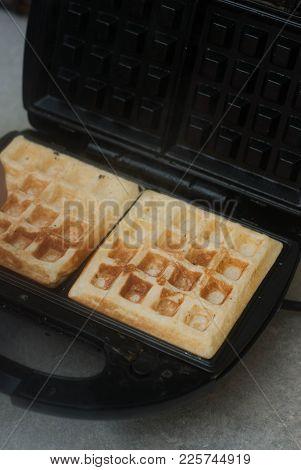 Homemade Belgian Waffle In A Waffle Maker. Breakfast. Healthy Food.