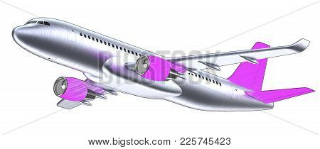 High Detailed White Airliner With A Purple Tail Wing, 3d Render On A White Violet. Airplane Take Off