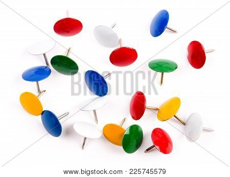 Pushpin Is Isolated On A White Background