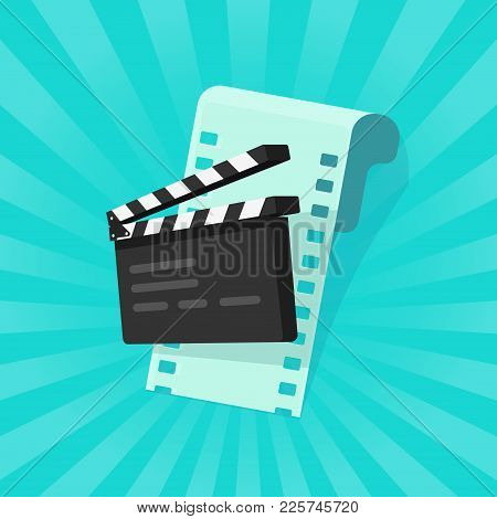 Movie Or Online Cinema Concept Vector Illustration, Flat Cartoon Design Of Clapper Board And Film St