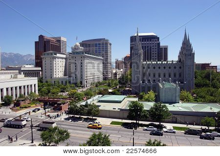 Downtown buildings and the Mormon Tabernacle in Salt Lake city Utah. poster