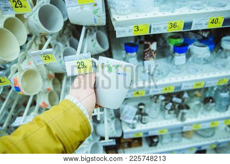 Man Choose Dishes In The Store First Person Of View