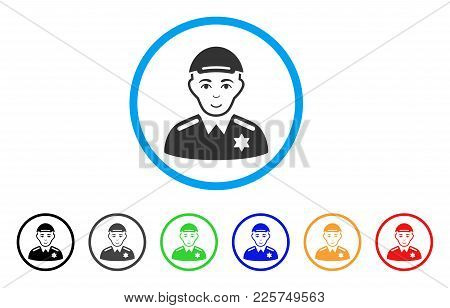 Police Sheriff Rounded Icon. Style Is A Flat Police Sheriff Gray Symbol Inside Light Blue Circle Wit