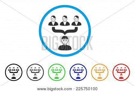 Citizens Guide Rounded Icon. Style Is A Flat Citizens Guide Gray Symbol Inside Light Blue Circle Wit