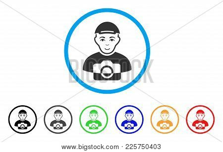 Paparazzi rounded icon. Style is a flat paparazzi gray symbol inside light blue circle with black, gray, green, blue, red, orange variants. Positive paparazzi vector pictograph. poster