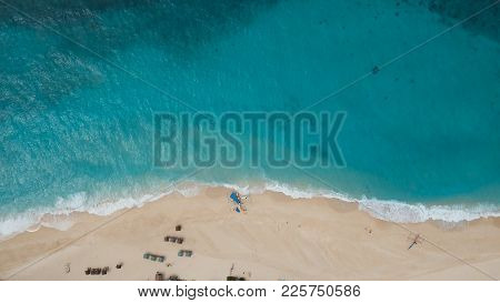 Aerial View Of Beautiful Tropical Island With With Azure Water. Tropical Lagoon With Turquoise Water