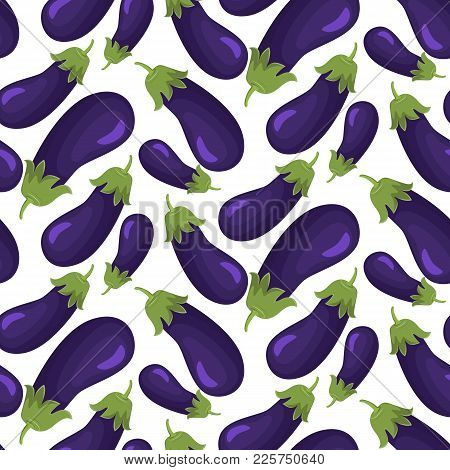 Seamless Watercolor Eggplant Pattern. Seamless Pattern On White Background. Stock Vector.
