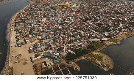 Aerial View Slums Of Manila, The Poor District. Philippines, Manila