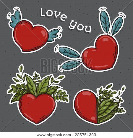 Set Of Hearts. Love You Symbol. Vector Illustration
