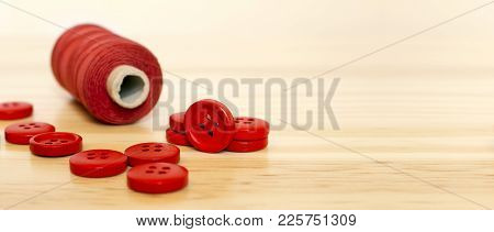 Diy Tool Concept - Red Sewing Supplies - Web Banner Of Button And Thread