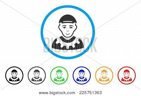 Worker Rounded Icon. Style Is A Flat Worker Gray Symbol Inside Light Blue Circle With Black, Gray, G