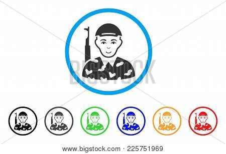 Soldier Rounded Icon. Style Is A Flat Soldier Gray Symbol Inside Light Blue Circle With Black, Gray,