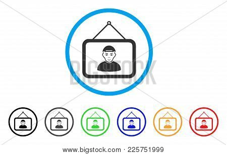 Guy Portrait Rounded Icon. Style Is A Flat Guy Portrait Grey Symbol Inside Light Blue Circle With Bl