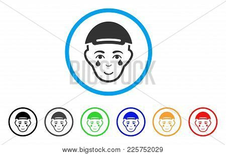 Crying Man Face Rounded Icon. Style Is A Flat Crying Man Face Gray Symbol Inside Light Blue Circle W