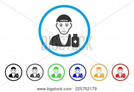 Drug Dealer Rounded Icon. Style Is A Flat Drug Dealer Grey Symbol Inside Light Blue Circle With Blac