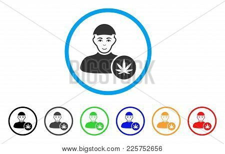Cannabis Dealer Rounded Icon. Style Is A Flat Cannabis Dealer Grey Symbol Inside Light Blue Circle W