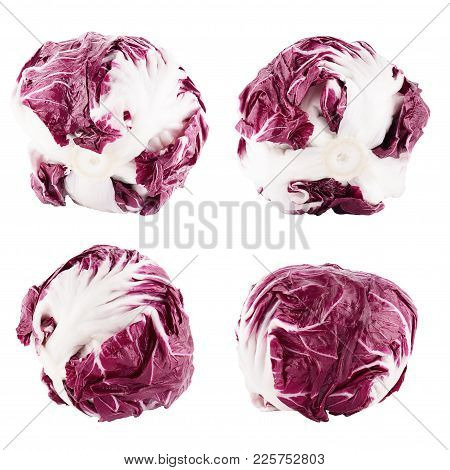 Isolated Red Salad. Red Trevisane Salad, Radicchio,  Isolated On White Background With Clipping Path