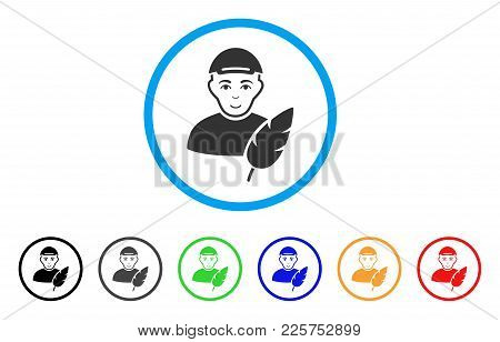 Feather Writer Rounded Icon. Style Is A Flat Feather Writer Gray Symbol Inside Light Blue Circle Wit