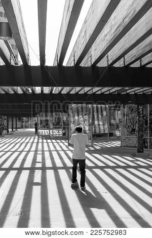 Sao Paulo, Brazil - October 05, 2014: Black And White Picture Of Brazilian Man Skateboarding At Roos
