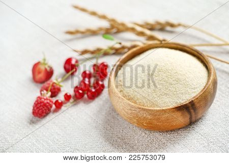 Raw unprepared semolina in bowl