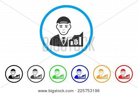 Bitcoin Trader Rounded Icon. Style Is A Flat Bitcoin Trader Gray Symbol Inside Light Blue Circle Wit