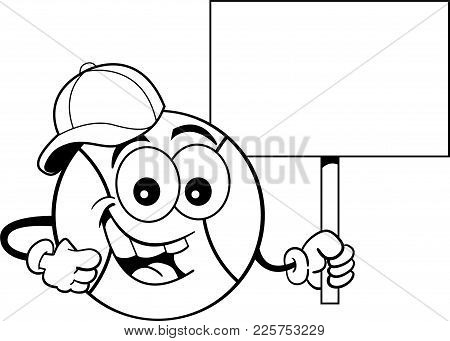 Black And White Illustration Of A Baseball Wearing A Baseball Cap And Holding A Sign.