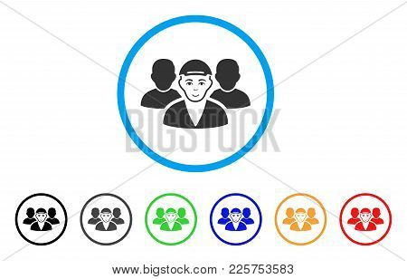 Guy Friends Rounded Icon. Style Is A Flat Guy Friends Grey Symbol Inside Light Blue Circle With Blac