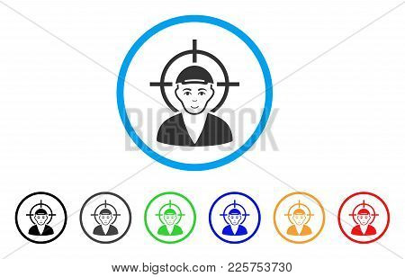 Target Boy Rounded Icon. Style Is A Flat Target Boy Grey Symbol Inside Light Blue Circle With Black,