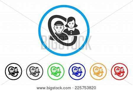 Ringed People Pair Rounded Icon. Style Is A Flat Ringed People Pair Grey Symbol Inside Light Blue Ci