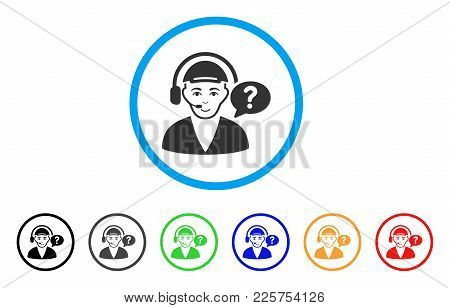 Call Center Chat Rounded Icon. Style Is A Flat Call Center Chat Grey Symbol Inside Light Blue Circle