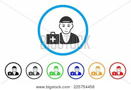 First-aid Man Rounded Icon. Style Is A Flat First-aid Man Gray Symbol Inside Light Blue Circle With
