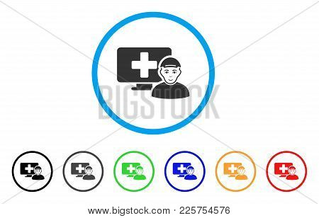 Online Patient Rounded Icon. Style Is A Flat Online Patient Grey Symbol Inside Light Blue Circle Wit