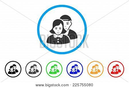 People Couple Rounded Icon. Style Is A Flat People Couple Grey Symbol Inside Light Blue Circle With