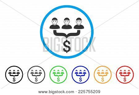 Client Sales Funnel Rounded Icon. Style Is A Flat Client Sales Funnel Gray Symbol Inside Light Blue