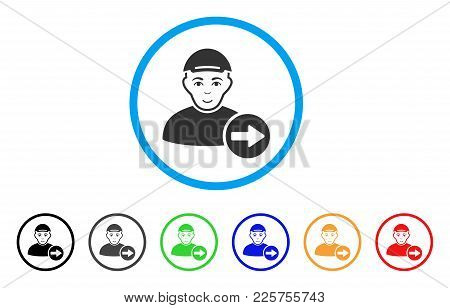 Following Man Rounded Icon. Style Is A Flat Following Man Grey Symbol Inside Light Blue Circle With