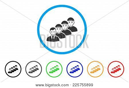 Team Manager Rounded Icon. Style Is A Flat Team Manager Gray Symbol Inside Light Blue Circle With Bl
